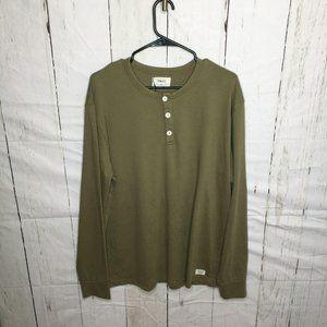 Pandco Mens Henley LS Tee Shirt Olive Green L NWT